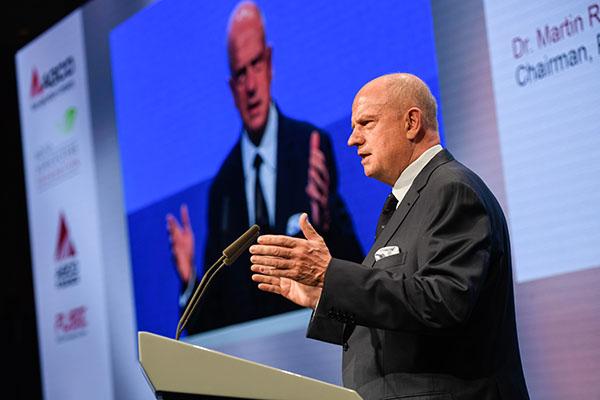 AGCO Chairman, President and CEO Martin Richenhagen speaking at the 2019 AGCO Berlin Summit