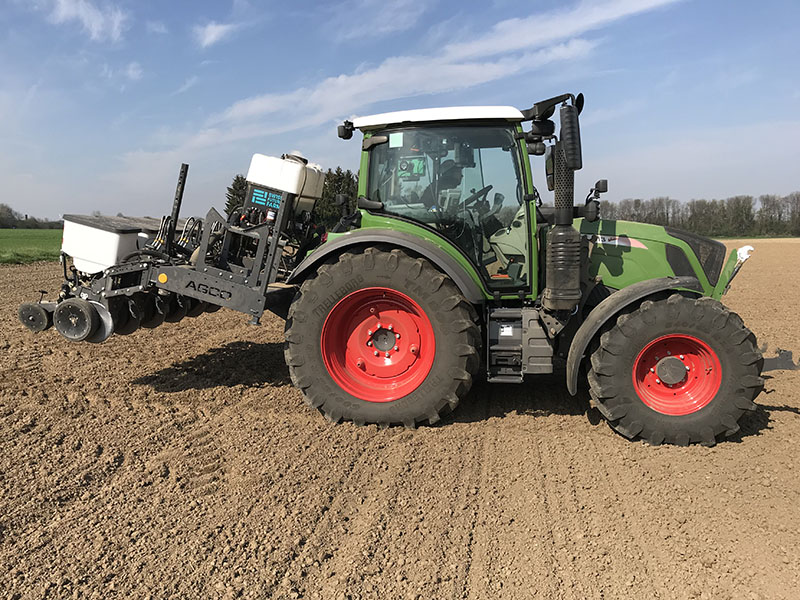 Fendt 313 Vario tractor with the six-row prototype planter equipped with Precision Planting row units used to plant Crop Tour plots in Northwest Europe.