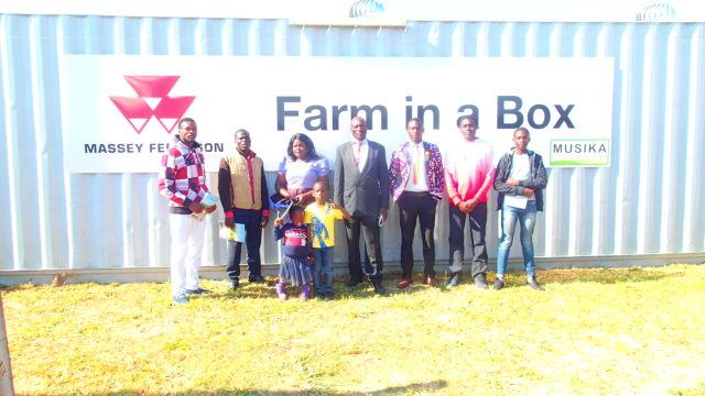 The Njovu family at the Farm in a Box training