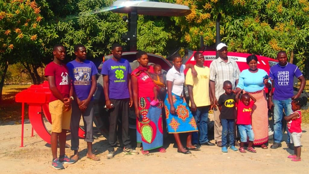 The Njovu family with their donated tractor and subsoiler